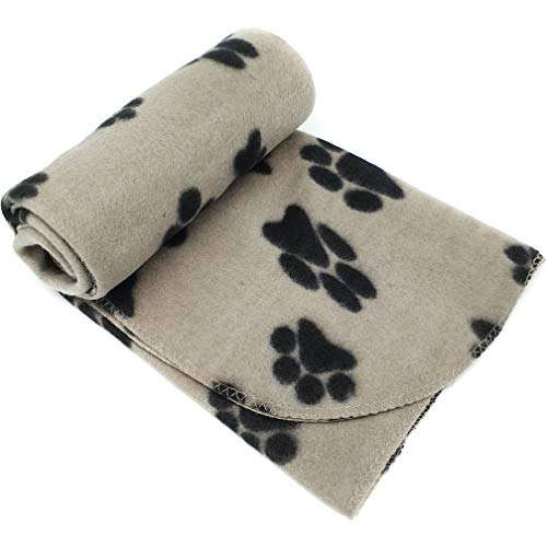 New Pet Touch Soft Fleece Pet Blanket Dogs Puppy Cat Kittens Blankets Paws & Bones Print ((73 X 70) cm, Beige (Black…