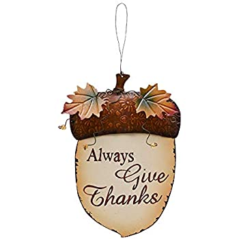 Fall Decor Wooden Acorn Hanging Sign, Wood Door Hanger Autumn Decorations Harvest Thanksgiving Plaque Wall Art Always Give Thanks