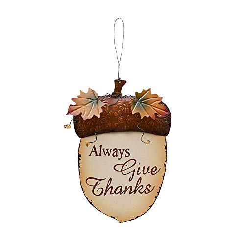 E-view Fall Decor Wooden Acorn Hanging Plaque Sign Door Hanger Wood Wall Decorations Autumn Harvest Thanksgiving Wall Art Always Give Thanks