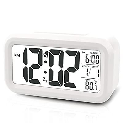 Digital Clock Morning Clock Low Light Sensor Technology Light On Backligt When Detect Low Light Soft Light That Won't Disturb The Sleep(White) by SINMI