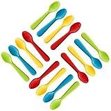 Plaskidy Plastic Toddler Spoons - Set of 16 Kids Spoons BPA Free/Dishwasher Safe Toddler Utensils Set Brightly Colored…