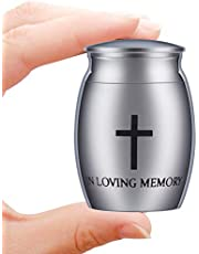 Small Decorative Memorial Cremation Keepsake Urns for Human Pet Ashes Mini Cremation Urn for Ashes Waterproof Stainless Steel Ashes Holder-Always in My Heart