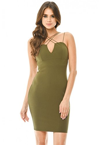 AX Paris Women's Bodycon Mini Dress(Khaki, (Khaki Green Color)