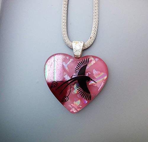 Pink Dichoric Glass Hummingbird Heart Pendant, Bird Lover Pendant