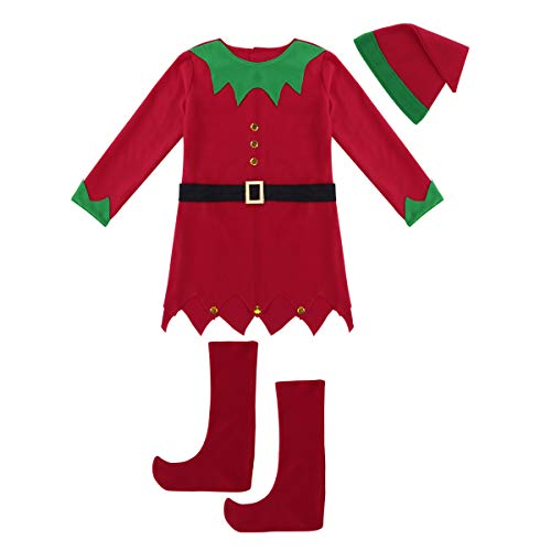 Alvivi Christmas Holiday Elf Costume Cosplay Party Fancy Dress Up Outfits with Hat Belt Set for Men Women Green&Red&Womens 160/Small ()
