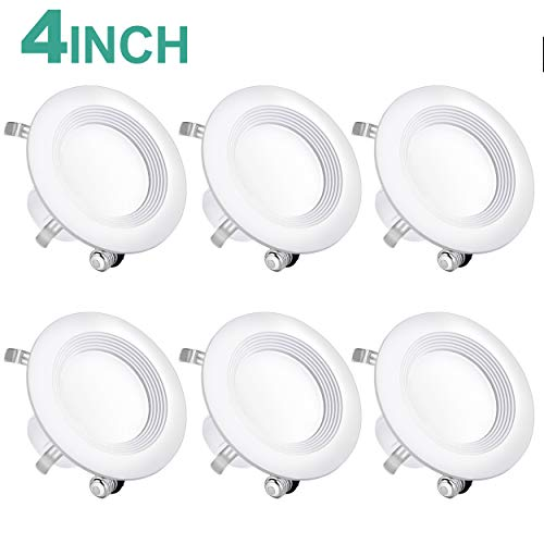 6 Pack 4 Inch Baffle Recessed Retrofit Lights, Ceiling Recessed Lighting Downlight, 3000K (Warm White) Dimmable Led Can Lights, CRI 90, UL and Energy Star Certified