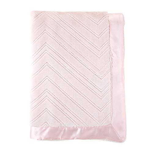 Trim Crib Blanket - Stephan Baby Snuggle Fleece Crib Blanket, Pink Sculpted with Satin Trim