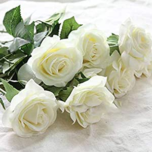10pcs 11pcs/Lot Rose Artificial Flowers Real Touch Rose Flowers for New Year Home Wedding Decoration Party Birthday Gift,A White 1,11pcs 99