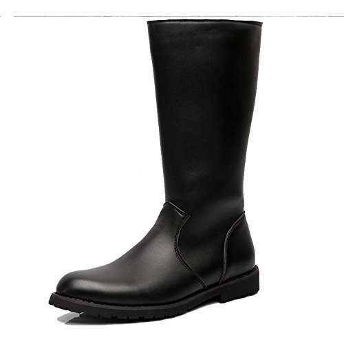 ple Shoes Men's Shoes Smooth Leather Upper Side Zipper Mid Calf Combat Boots for Gentlemen (Color : Black, Size : 9.5 D(M) US) ()