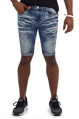 (X RAY Mens Denim Jean Shorts Folded Hem Slim Fit Stretch Casual Distressed Look Knee Length Inseam Roll Cuff Short Denim Size 30)