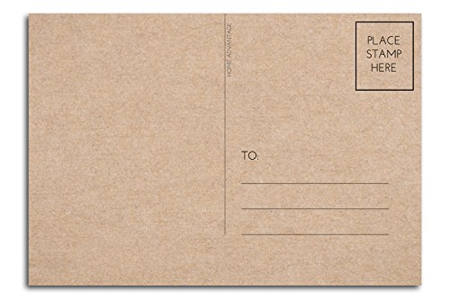 4x6 Postcards with Mailing Side (50 Pack) Blank Plain Kraft - Home Advantage