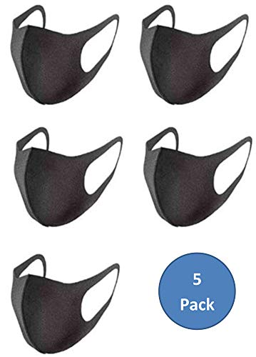Protective Face Shield Face Cover Face Mask for Women & Men – Black – Washable & Reusable MADE IN USA (5 pack)