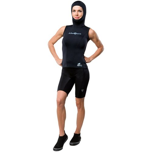 (NeoSport Wetsuits Women's XSPAN 5/3mm Hooded Vest, Black, 6 - Diving, Snorkeling &)