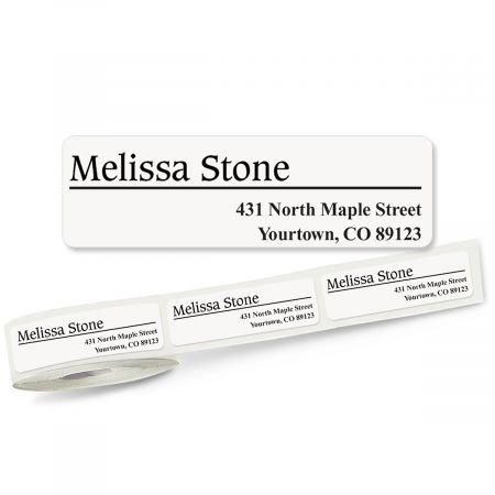 (White Rolled Address Labels Roll of 250-2 1/2 x 3/4 rolled labels with clear acrylic dispenser)