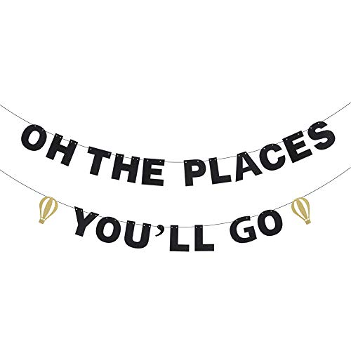 Oh The Places You'll Go Child Birthday Banner - Black Glitter with Hot Air Balloon - Inspirational Rhyme Kids School Days Décor - Playroom Classroom Nursery Decoration -