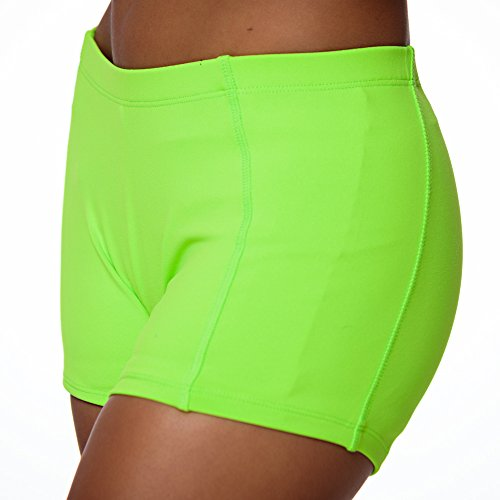 CrazyPants Girls Activewear Shorts - Cheerleader, Volleyball, Booty Shorts, Workout, Yoga (Youth-M, Neon-Green) ()
