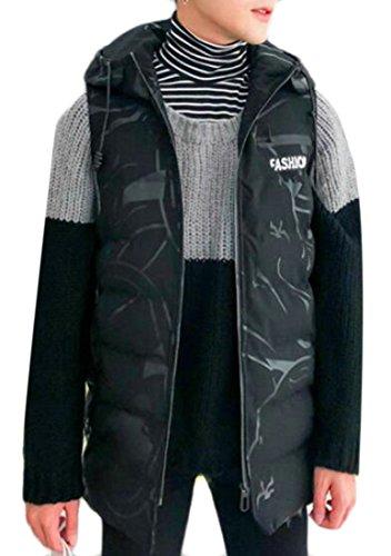 Down Black today Hooded Vest Print Mens Jacket Sleeveless UK Como rzTxrY