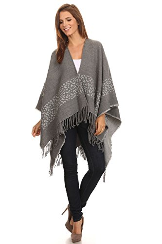 LL Womens Cashmere -Feel Gray Animal Print Poncho Ruana Cozy Trendy Wrap Fringe Tassels