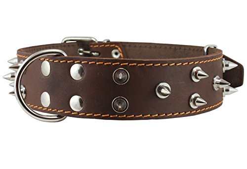 Dogs My Love Real Leather Brown Spiked Dog Collar Spikes, 1.85