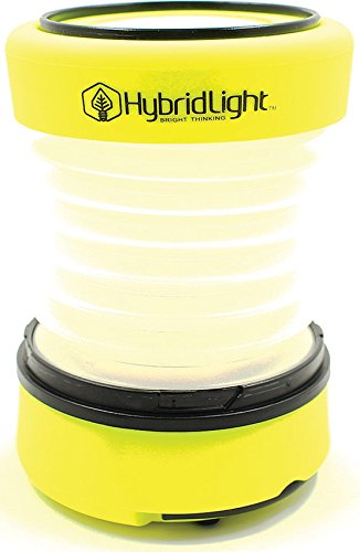Yellow Rechargeable Flashlight - Hybridlight Solar Rechargeable Expandable Lantern, Flashlight, Cell Phone Charger. 75 Lumen. Built in Solar Panel. USB Cable Included for Quick Charge