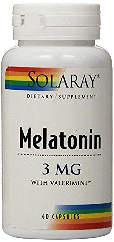Solaray Melatonin-3 with Valerimint Supplement, 3 mg, 60 Count (2 Pack)