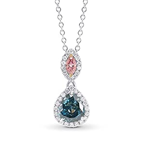 0.75Cts Green Diamond Necklace Set in 18K White Gold