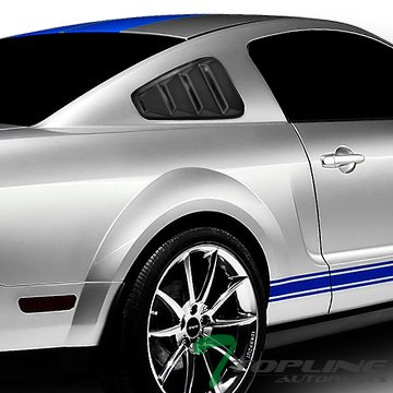 Topline Autopart Black Retro Sport Rear 1/4 Quarter Side Vent Window Louvers V1 For 05-14 Ford Mustang