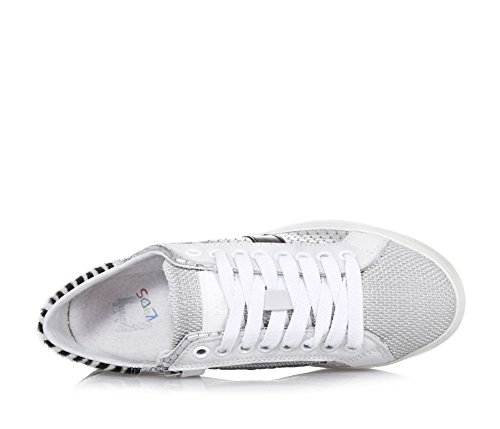 D.A.T.E. - Chaussure à lacets blanche et argent, en cuir et tissu synthétique, avec fermeture éclair latérale, lacets blancs, Fille, Filles, Femme, Femmes
