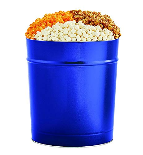 CDM product The Popcorn Factory Popcorn Gift Tin, Simply Blue, 3.5 Gallons (Robust Cheddar, White Cheddar, Caramel) big image