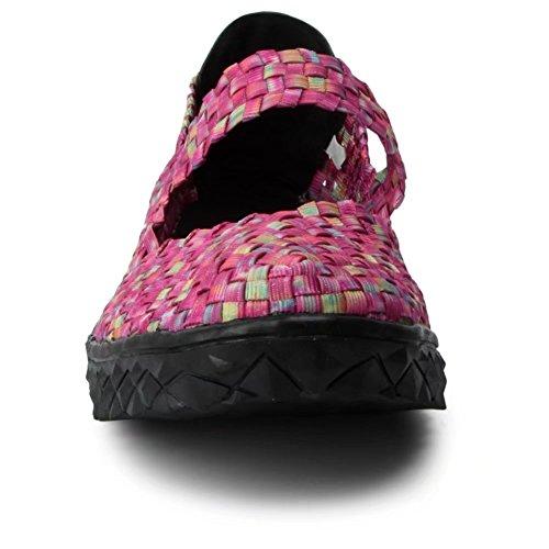 Froon Frauen gewebt flache Mary Jane Schuhe Slip On Pfirsich