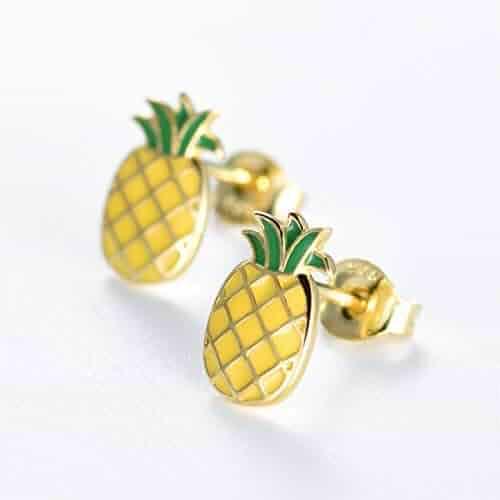 b34fc563c MASOP Sterling Silver Cute Pineapple Earrings Hypoallergenic Yellow Gold  Plated Dangle Stud Earrings Summer Vocation Beach