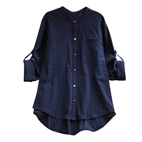 Womens Color Button Tops Loose Long Sleeve Round Neck Cotton Linen Blouse Pullover SanCanSn(Navy,L) -