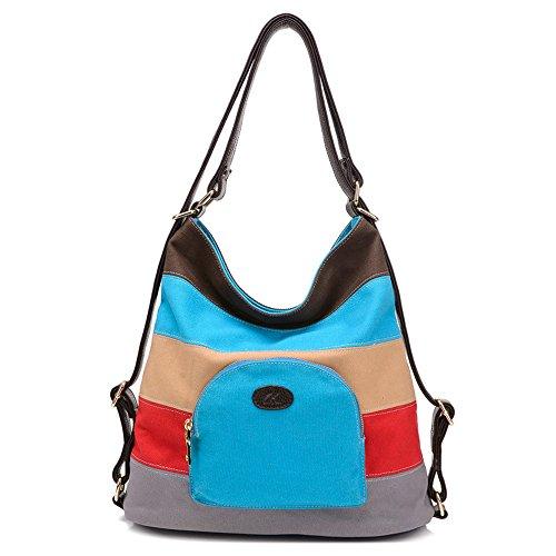 BYD - Mujeres Mitil Function Bag Bolsos bandolera Bolsos mochila School Bag Cross Body Bag Mutil Ppockets Design Colorful Canvas Material Azul