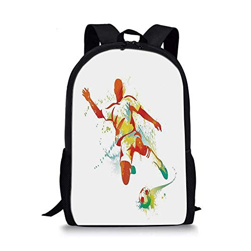 Sports Decor Stylish School Bag,Soccer Player Kicks the Ball Competitions Paint Splashes Speed Boots Art for Boys,11''L x 5''W x 17''H