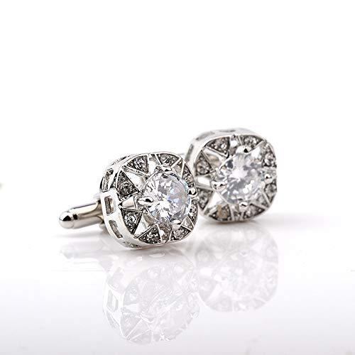 Elegant Silver Purple Rhinestone Crystal Cufflinks Buttons Gifts Trendy Round Square Geometric Cufflinks For Mens Shirt Jewelry C023897WHITE