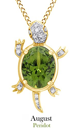Jewel Zone US Simulated Peridot Gemstone & Natural White Diamond Turtle Pendant Necklace in Sterling ()