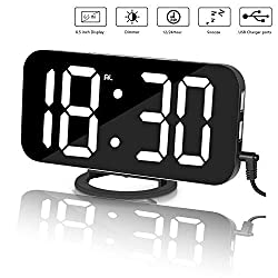 Alarm Clock, Inwee Digital Clock Large 6.5'' LED Display with Dual USB Charger, Easy-Read, 12/24 Hours, Mirror Surface, Dimmer Snooze for Bedroom, Battery Backup