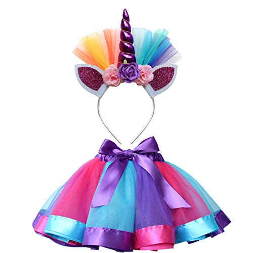 Unicorn Tutu Skirt and Unicorn Headband Outfit for Girls 2T, 3T,4T,5T,6T,7T Birthday Party Costumes Set Blue