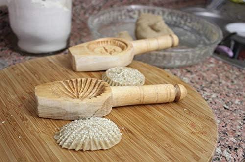 Halva Cookie Mold 2 Pcs Wooden K/ömbe Kerebi/ç