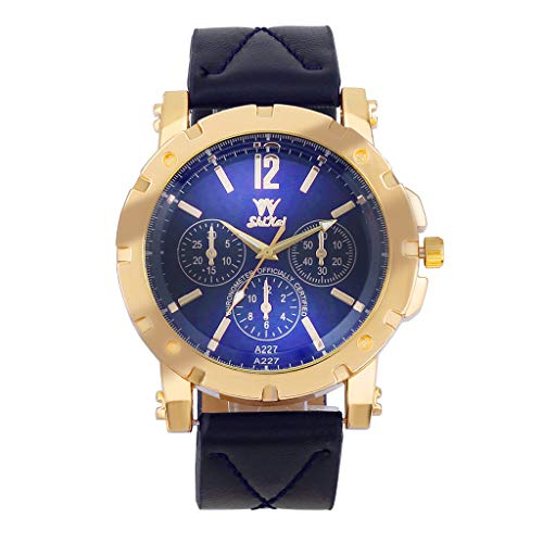 Fashion Luxury Casual Business Stainless Steel Dial Leather Strap Analog Quartz Waterproof Watches for Men (Blue) ()