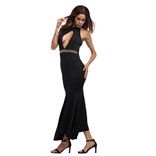 Xl Lotus S De Wang Mujeres xl Vestidos Shoulder Lace Negro Las Bare color Negro Sexy Backless Color Tamaño Pure Verano Dress wwBHz6q