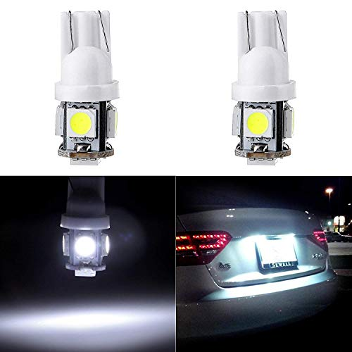 cciyu License Plate Light, T10 W5W Wedge 168 194 LED Bulb 6000K Xenon White,6Pack