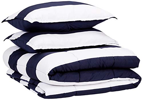 AmazonBasics Easy-Wash Microfiber Comforter Set - Full or Queen, Navy Rugby ()