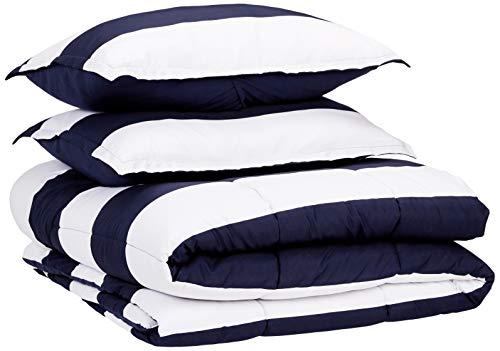 AmazonBasics Comforter Set, Full / Queen, Navy Rugby Stripes, Microfiber, Ultra-Soft (Black Stripe Comforter Set Queen)