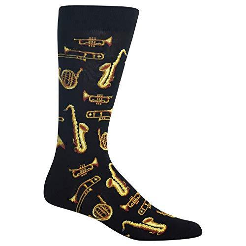 (Hot Sox Men's Conversation Starter Novelty Casual Crew Socks, Jazz INSTRUMENTS (black), Shoe Size: 6-12 Size: 10-13 )