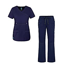 Adar Uniforms Adar Pop-stretch Junior Fit Women's Scrub Set - Crossover Top & Multi Pocket Pants - 3500 - Navy - S