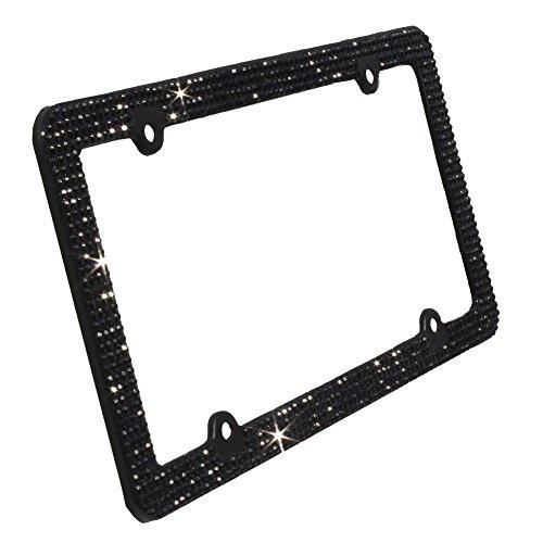 New SWAROVSKI Crystal Chrome license plate frame 7 rows W Screw Caps Pink
