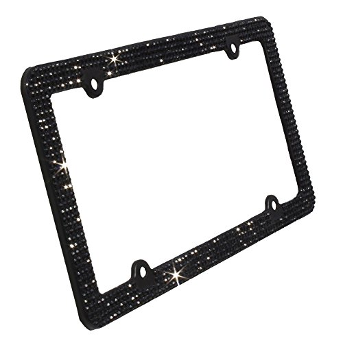 TASIRO 8 Row Pure Handmade Waterproof Bling Rhinestones Aluminum License Plate Frame with 4 Holes Bonus Matching Screws Caps (Black rhinestones)