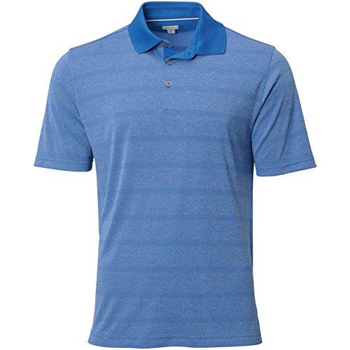 Ashworth Knit Shirt (Ashworth Mens Double Knit Stripe Polo Blue)