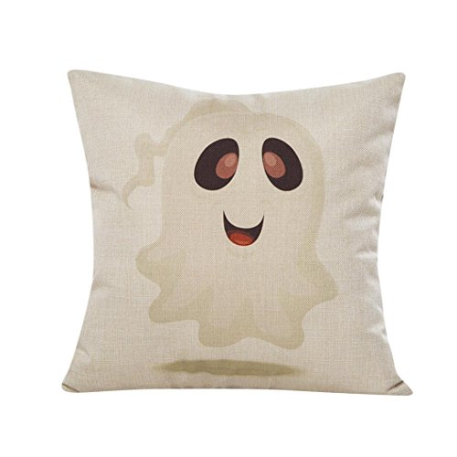 Gotd Halloween Decorations Decor Halloween Sofa Bed Home Decor Pillow Case Cushion Cover Square 45cm/18inch (White)]()